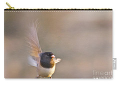 Carry-all Pouch featuring the photograph Dark-eyed Junco Taking Flight by Sean Griffin