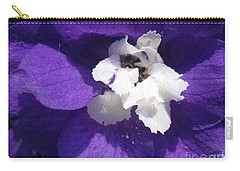 Delphinium Named Blue With White Bee Carry-all Pouch by J McCombie