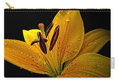 Carry-all Pouch featuring the photograph Dew On The Daylily by Debbie Portwood