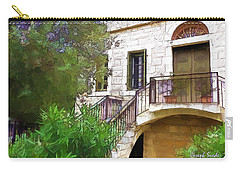 Carry-all Pouch featuring the photograph Do-00490 Balcony Of Old House by Digital Oil