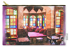 Carry-all Pouch featuring the photograph Do-00520 Emir Bachir Palace Interior-violet Bkgd by Digital Oil