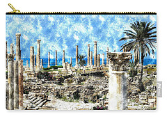 Carry-all Pouch featuring the photograph Do-00549 Ruins And Columns - Town Of Tyr by Digital Oil