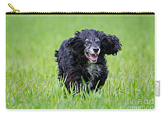 Dog Running On The Green Field Carry-all Pouch