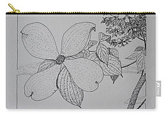Carry-all Pouch featuring the drawing Dogwood  by Daniel Reed