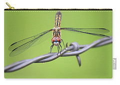 Carry-all Pouch featuring the photograph Dragonfly On Barbed Wire by Penny Meyers