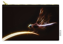 Carry-all Pouch featuring the digital art Dragonfly On Golden Blade by Lynne Jenkins