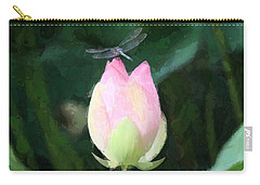 Dragonfly On Water Lily Carry-all Pouch