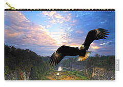 Carry-all Pouch featuring the photograph Eagle At Paint Creek Dam by Randall Branham