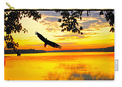 Carry-all Pouch featuring the photograph Eagle At Sunset by Randall Branham