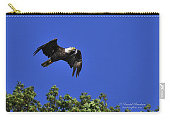 Carry-all Pouch featuring the photograph Eagle Over The Tree Top by Randall Branham
