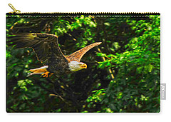 Carry-all Pouch featuring the photograph Eagle Taking Lunch To Her Babies by Randall Branham