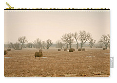 Carry-all Pouch featuring the photograph Earlying Morning Hay Bails by James Steele