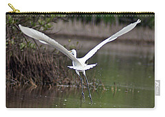 Egret In Flight Carry-all Pouch by Joe Faherty