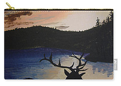 Carry-all Pouch featuring the painting Elk At Sunset by Norm Starks