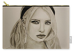 Carry-all Pouch featuring the drawing Emily by Michael Cross