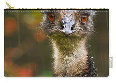 Emu In The Rain Carry-all Pouch by Jean Noren