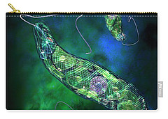 Carry-all Pouch featuring the digital art Euglena Blue by Russell Kightley