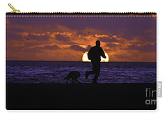 Evening Run On The Beach Carry-all Pouch by Clayton Bruster