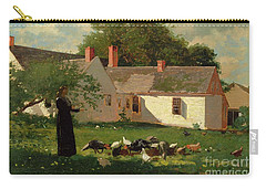 Farmyard Scene Carry-all Pouch by Winslow Homer