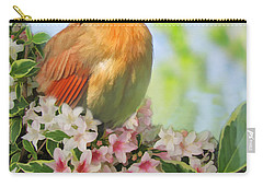 Carry-all Pouch featuring the photograph Female Cardnial In Wegia Digital Art by Debbie Portwood