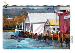 Fishing Boat And Dock Watercolor Carry-all Pouch by Chriss Pagani