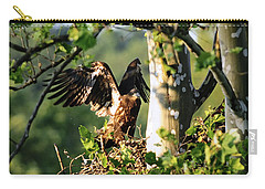 Carry-all Pouch featuring the photograph Fledgling Testing The Wind by Randall Branham