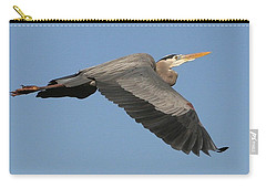 Carry-all Pouch featuring the photograph Flight Of The Great Blue Heron by Myrna Bradshaw
