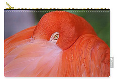 Carry-all Pouch featuring the photograph Flirty Flamingo by Myrna Bradshaw