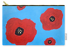 Carry-all Pouch featuring the painting Floating Flowers by Alys Caviness-Gober