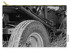 Carry-all Pouch featuring the photograph Ford Tractor Details In Black And White by Jennifer Ancker