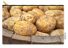 Freshly Harvested Potatoes In A Wooden Bucket Carry-all Pouch by Tom Gowanlock