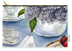 Carry-all Pouch featuring the painting Garden Tea Party by Clara Sue Beym