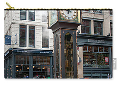 Carry-all Pouch featuring the digital art Gastown Steam Clock by Carol Ailles