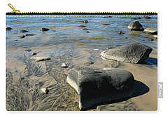 Carry-all Pouch featuring the photograph Georgian Bay Rocks by Nadine Dennis