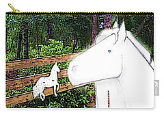 Carry-all Pouch featuring the drawing Ghost Horse by George Pedro