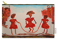 Carry-all Pouch featuring the painting Girls In Red Dresses Jump Rope by Mary Carol Williams