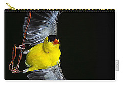 Carry-all Pouch featuring the photograph Goldfinch High Wire Act by Randall Branham