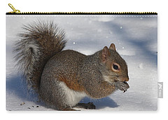 Gray Squirrel On Snow Carry-all Pouch