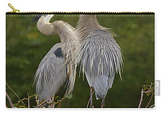Carry-all Pouch featuring the photograph Great Blue Heron Couple by Myrna Bradshaw