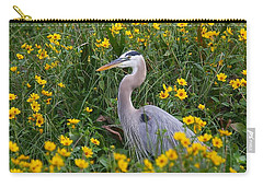 Carry-all Pouch featuring the photograph Great Blue Heron In The Flowers by Myrna Bradshaw