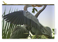 Carry-all Pouch featuring the photograph Great Blue Herons by Myrna Bradshaw
