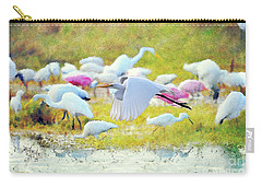 Carry-all Pouch featuring the photograph Great Egret Flying by Dan Friend