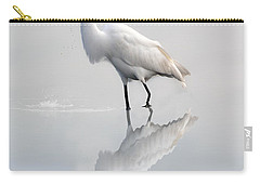 Carry-all Pouch featuring the photograph Great Egret With Lunch by Dan Friend