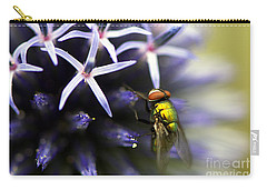 Green Metallic Fly On Globe Thistle Carry-all Pouch