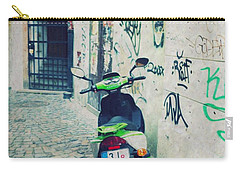 Green Vespa In Prague Carry-all Pouch by Linda Woods
