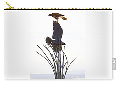 Carry-all Pouch featuring the photograph Hawk On Statue by Rebecca Margraf