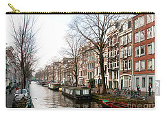 Carry-all Pouch featuring the digital art Homes Along The Canal In Amsterdam by Carol Ailles