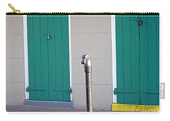 Carry-all Pouch featuring the photograph Horse Head Post With Green Doors by Alys Caviness-Gober