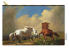 Horses Balking At Storm Carry-all Pouch by Pg Reproductions