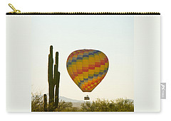 Hot Air Balloon In The Arizona Desert With Giant Saguaro Cactus Carry-all Pouch